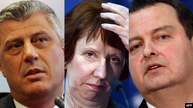 A combo photo shows Kosovar Prime Minister Hashim Thaci (left), EU foreign affairs chief Catherine Ashton, and Serbia's Prime Minister Ivica Dacic