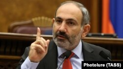 Acting Prime Minister Nikol Pashinian speaks during a parliament session in Yerevan on November 1.