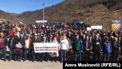 Sa protesta građana protiv izgradnje male hidroelektrane na reci Neretvici, na jugu BiH, 22. februara 2020.