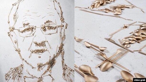 Картина, изображающая министра обороны Литвы при помощи золотых приборов