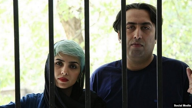 "Iranian poets Fatemeh Ekhtesari (left) and Mehdi Musavi were sentenced to prison terms of 11 1/2 years and nine years after being convicted of charges that include ""insulting sanctities."""