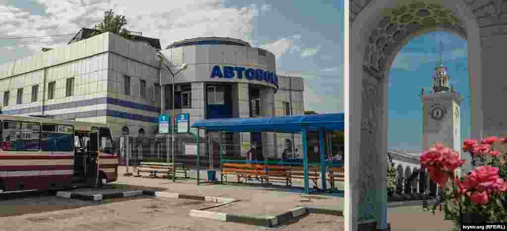На автовокзале обновили фасад, а еще с прошлого года окружили его территорию «зоной безопасности». Часы на башне железнодорожного вокзала по-прежнему исправно работают