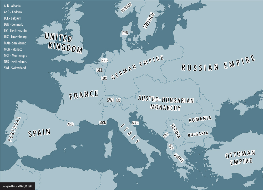 Europe On Eve Of WWI Vs Today - Europe world war1 map 1914