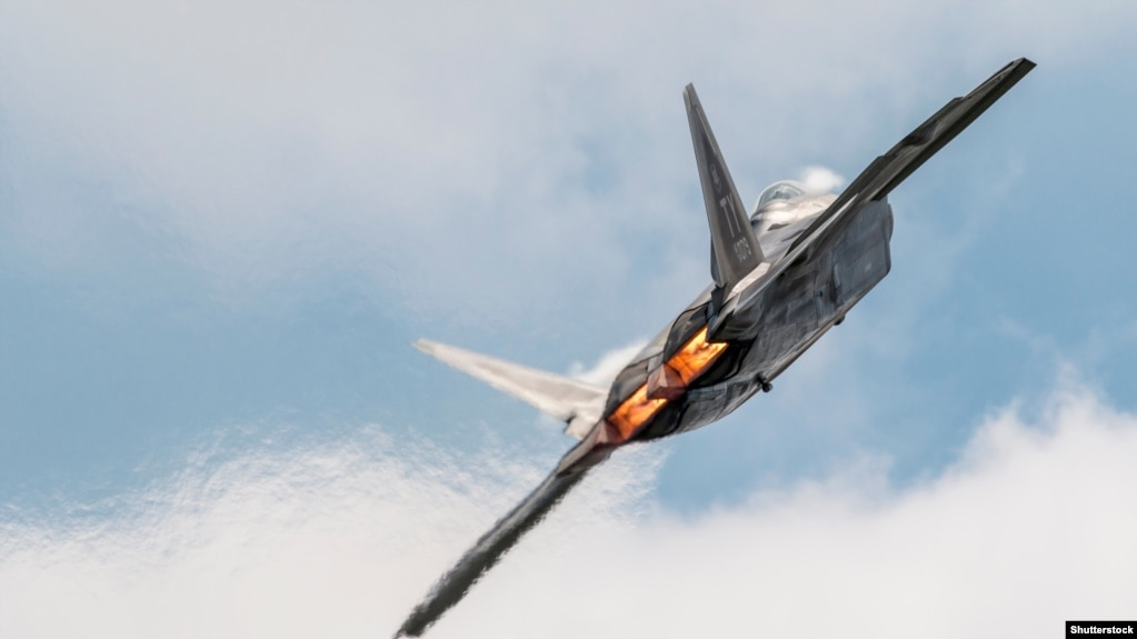 File photo - U.S. -- F-22 during airshow flypast.