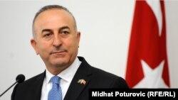 Bosnia and Herzegovina - Sarajevo - Turkish Foreign Minister Mevlut Cavusoglu during the press conference in Sarajevo. 30Apr2015.