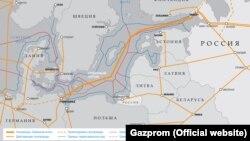 """Harta proiectului conductei """"Nord Stream"""""""