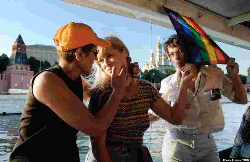 Gay women on a cruise in Moscow in 2005