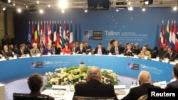 A general view of the informal meeting of NATO foreign ministers in Tallinn on April 22