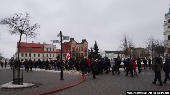 Акцыя пратэсту супраць дэкрэту № 3 у Горадні