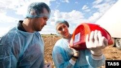 Оренбург, Росія, 6 серпня 2015 року. Працівники санітарних служб востаннє дивляться на імпортний сир, який зараз буде знищений