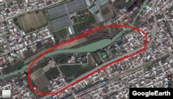 A Google image of Shavkat Mirziyoev's new residence (marked in red)