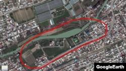 Панорамный снимок резиденции президента Шавката Мирзияева на карте Google.