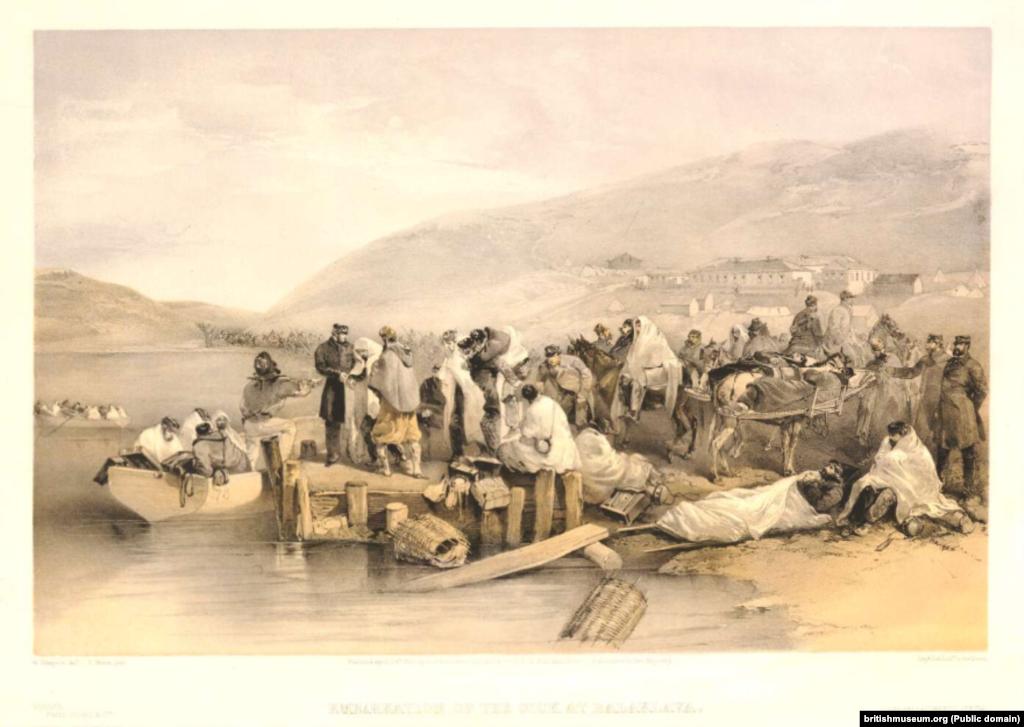 По словам севастопольского историка Константина Колонтаева, за семь лет до начала Крымской войны, в 1846 году, образовалось европейское международное общество «Société d'etudes du canal de Suez», которое ставило перед собой цель начать строительство Суэцкого канала. В этом европейском объединении наиболее видными деятелями были инженеры: француз Талабо, англичанин Стефенсон и австриец генуэзского происхождения Негрелли. Уильям Симпсон – шотландский художник. Во время ожидания падения Севастополя ему было поручено писать картины со сценами взятия города, чтобы после произошедшего опубликовать их в популярной тогда газете «Illustrated London News». Это картина «Раненые ждут эвакуации из Балаклавы»