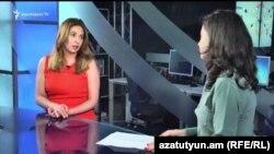 Заруи Постанджян (слева) в студии «Азатутюн ТВ», 25 июля 2017 г.