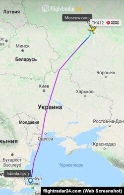 Трек рейса TK412 Турецьких авіаліній за маршрутом Москва-Стамбул
