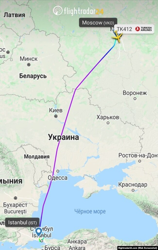 "Трек рейса TK412 ""Турецких авиалиний"" по маршруту Москва-Стамбул"
