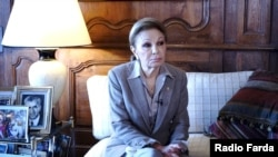 Iran's former Queen Farah Pahlavi in an interview with Radio Farda. File photo