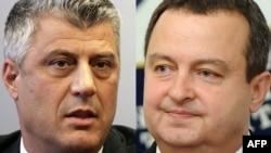 Kryeministri kosovar Hashim Thaci dhe homologu i tij serb, Ivica Daçiq