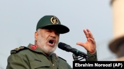 Chief of Iranian Revolutionary Guard Gen. Hossein Salami speaks at a pro-government rally denouncing last week's violent protests over a fuel price hike, in Tehran, November 25, 2019