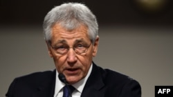 Former U.S. Senator Chuck Hagel speaks during his confirmation hearing before the Senate Armed Services Committee in Washington, D.C., in January.