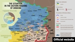 Ukraine – UKRAINIAN Map: The situation in a combat zone at Donbas, 07Sep 2014