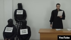A screenshot from a scene in a show published on YouTube mocking Russian President Vladimir Putin.
