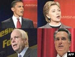 Төрт жылдагы президенттик шайлоодогу атаандаштар: демократтар Барак Обама жана Хиллари Клинтон (жогорку катарда солдон оңго), республикачылар Жон МакКейн жана Митт Ромни (ылдыйкы катарда солдон оңго).