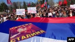 Марш в Одессе. Сталинизм и экстремизм пришли на Украину с сепаратистами, часто из России.