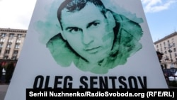 Ukraine, Kyiv - action for the third anniversary of the arrest of Crimean director Oleg Sentsov, 11May2017