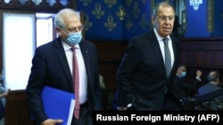 EU foreign policy chief Josep Borrell (left) with Russian Foreign Minister Sergei Lavrov in Moscow on February 5.