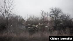 Танк в районе Углегорска, Донецкая область