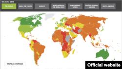 World -- 2012 Economic Freedom Heat Map