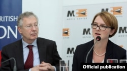 Armenia - Ambassadors of Germany and the UK to Armenia Reiner Morell and Katherine Jane Leach at a joint press conference at Media Center, Yerevan, 29 Oct, 2014