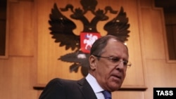Russian Foreign Minister Sergei Lavrov attends a news conference in Moscow on January 21.