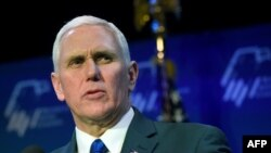 US -- LAS VEGAS, NV - FEBRUARY 24: U.S. Vice President Mike Pence speaks during the Republican Jewish Coalition's annual leadership meeting at The Venetian Las Vegas on February 24, 2017 in Las Vegas, Nevada. Pence's speech to the group of Republican Jewi