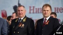 Дмитрий Рогозин и президент самопровозглашенной Приднестровской Молдавской республики Евгений Шевчук на параде Победы в Тирасполе 9 мая 2014 года