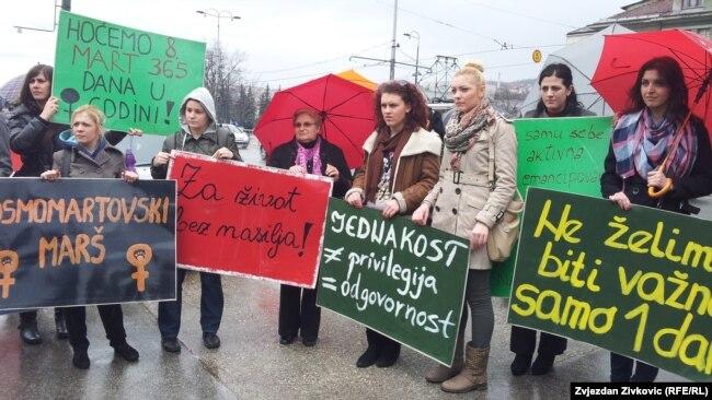 Marinković Lepić: I danas žene u BiH ne uživaju punu rodnu ravnopravnost (Sa osmomartovskog marša u Sarajevu arhivska fotografija)