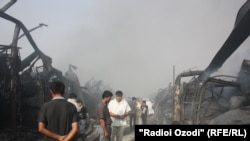 Tajikistan -- Fire at Korvon market, Dushanbe, 06Sep2012