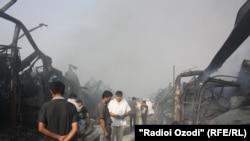 Tajikistan -- Fire at Korvon market, Dushanbe, 06Sep2012