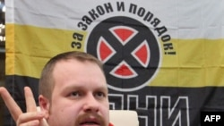 Dmitry Dyomushkin, one of the leaders of the Movement Against Illegal Immigration, at a press conference in Moscow in February