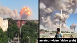 A screen grab from an amateur video shows the blast hit the military warehouse.