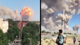 Скриншоты видео со взрывом в Арыси и убегающими из города жителями. 24 июня 2019 года.