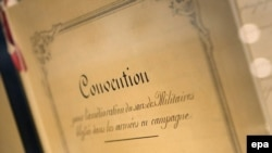 The original document of the first Geneva Convention, for the Amelioration of the Condition of the Wounded in Armies in the Field, signed in 1864. It's displayed at the International Red Cross and Red Crescent Museum in Geneva.