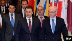 Премиерот Никола Груевски на средба со претседателот на Европскиот Совет, Херман ван Ромпуј.