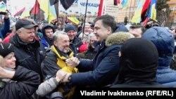 4 fevral,2018. Kiyev. Saakashvili tərəfdarları arasında