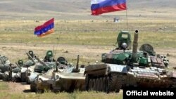 Armenia -- Armenian and Russian army units at a joint military exercise, undated