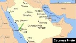 Сауд Арабиясының картасы.
