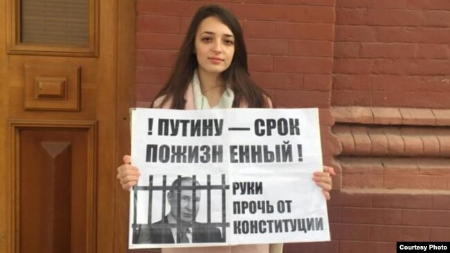 Student Vera Inozemtseva was expelled from university for attending a pro-Navalny protest in Astrakhan on January 23.