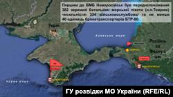 Cлайд ГУ розвідки МО України щодо перекидання до Криму 382-го і 334-го батальйонів армії Росії