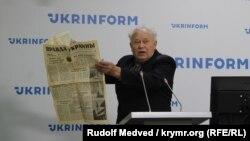 Петр Вольвач на пресс-конференции по поводу возобновления деятельности Краевой рады украинцев Крыма. Киев, 28 сентября 2020 года